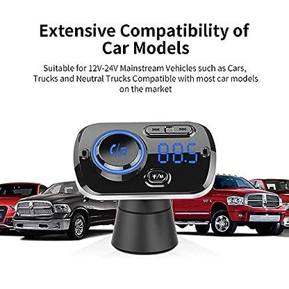 Bluetooth-FM-Transmitter-50-Auto-Radio-Adapter-mit-Dual-USB-Ports-QC3024A-Freisprecheinrichtung-mit-Mikrofon-Untersttzt-Siri-Google-7-Farbe-LED-Backlit-TF-Karte-Aux-Auto-Bluetooth-MP3-Kit