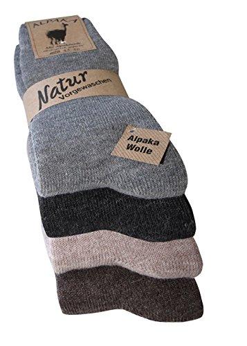 Alpaka Socken mit Alpakawolle Spitze handgekettelt NEUHEIT: MIT FROTTEESOHLE weich und warm, ab 2 Paar, (43-46, 4 Farben 4er Set) - Neuheit Socken Knie Hoch