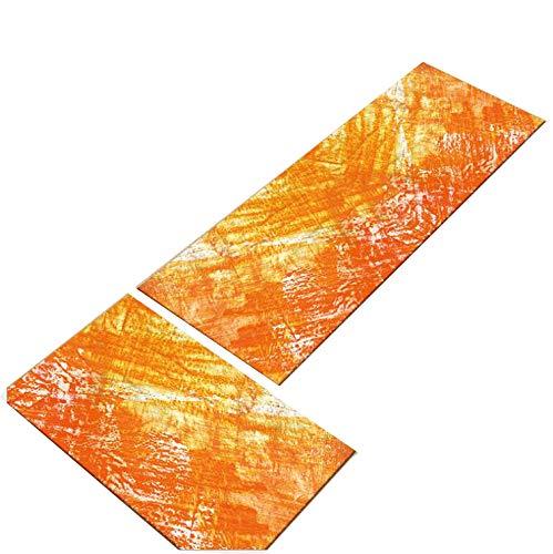 ZGYZ 2 PCS Alfombras moquetas Cocina Naranjas Antideslizantes