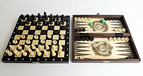Great Travel 3 in 1 Wooden Set of Chess Backgammon