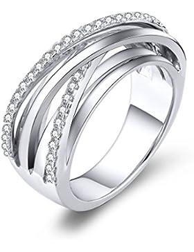 YL Jewelry Damen und Herren Ring 925 Sterlingsilber Zirkonia Ring Kreuzen Schmuck