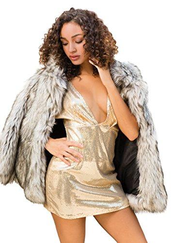 Leg Avenue 86594 - Paillettenkleid mit Tiefem V-Ausschnitt Vorn, Größe L, gold - 3