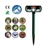 Outdoor Waterproof Ultrasonic Animal Repeller, Solar Powered, Divo Pet Repellent Cat Dog Mice Bird Deterrent Spike For Garden Yard Field Farm Glassland With Infrared Sensor (Army Green)