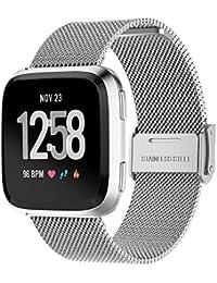 Correa de Reloj Casual, YpingLonk Acero Inoxidable Malla Tejida para Fitbit Versa Watch Cómoda y