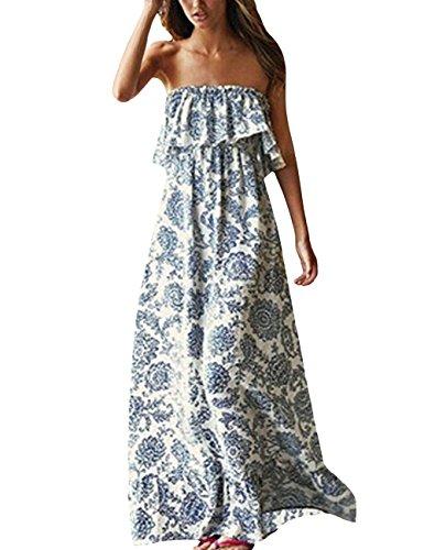 Langen, Weißen Maxi-kleid (Yidarton Damen Sommer Kleider Blau und Weiß Porzellan Trägerlos Boho Maxi Lang Kleid Ärmelloses CocktailKleid Strandkleid)