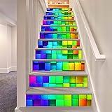 LLL LT028 Treppenhaus Aufkleber Entfernbar Selbstklebend Wasserdicht Multicolor Irregulär Platz Muster DIY Wandgemälde
