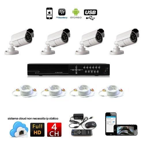 KIT VIDEOSORVEGLIANZA 4 TELECAMERA 1200 TVL LED INFRAROSSI + DVR 4 CANALI + ALIMENTATORI + (Tvl Telecamera Bullet)