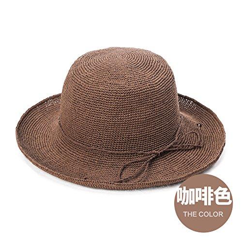 LLZTYM Chapeau/Femme/Été/Chapeau De Paille/Pliant/Plage/Chapeau De Soleil/Suncap/Cadeau Coffee