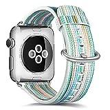 AUTOECHO Apple Watch 38mm Armband Serie 3/2/1 Quasten Retro Smart Armband mit echtem Leder ethnischen Stil gemalt Uhrenarmbänder Ersatz Watchstrap mit bunten Muster für Frauen Männer Geschenke