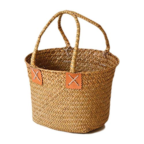 Hihey Einkaufstasche Weinlese Gras gesponnener Handtaschen Blumen Topf großer Strand Ablagekorb für Tätigkeit im Freien