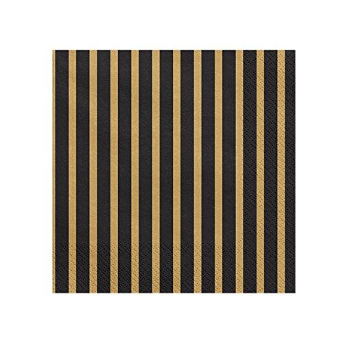 20 Servietten Streifen - schwarz gold | aus Papier