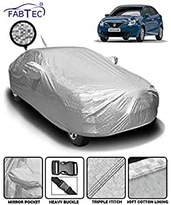 Fabtec Heat & Waterproof Metallic Silver Mirror and Antenna Pocket Car Body Cover for Maruti Suzuki Baleno with Soft Cotton Lining (Full Bottom Elastic, Full Sized, Triple Stitched)