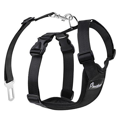 Pawaboo Cinturón De Seguridad de Perro - Adjustable Vest / Malla Harness Car Safety para Mascota Chaleco de Correa con Seat Belt Lead Clip de Coche, Adecuado para Perros de 11 LBS - 33 LBS, Talla M, Negro