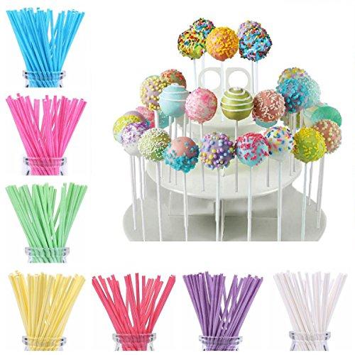 [7 Farben ,70 Stück] Cake Pop Sticks ,Wiederverwendbare Stiele für Cake Pops ca. 15 cm lang