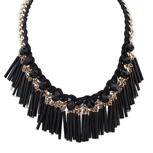 Mjhwsx collana lunga Pipe artigianali di iperbole moda cristallo nappa collana lunga, black