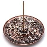 JOVIVI Räucherstäbchenhalter aus Messing - Lotusstab Räucherstäbchen und Drachen und Phoenix Kegel Räucherstäbchenhalter Rückfluss mit Aschefang Kupferfarben