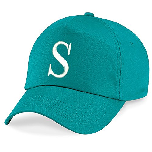 Casquette 4sold Unisexe Broderie Coton Baseball Cap Garçons Filles Hip Hop Flat Hat Bonnet A-Z Alphabet Burgundy Emerald S