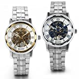 JewelryWe 2pcs Stainless Steel Band Skeleton Hand-Wind Mechanical Watches for Men Birthday Gift