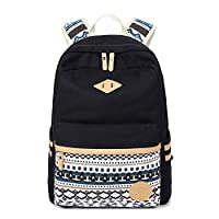 Abshoo Canvas Lightweight Student Backpacks for Girls School Bags (Black)
