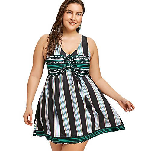 YTJH Badeanzug Größe EIN Stück Empire Womens Bikini gedruckt gestreifte drahtlose hohe Taille