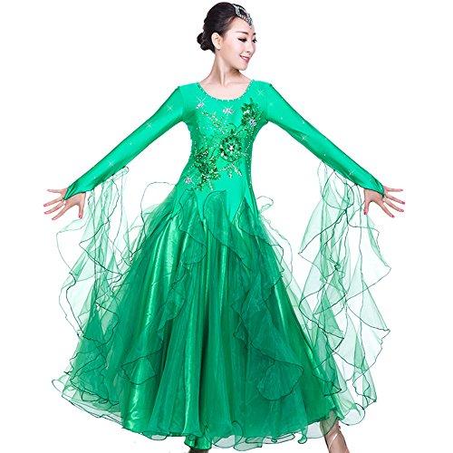 Dance Kleider–Modern Glatte Walzer Tango Party Tanzen Swing Wettbewerb Dancewear Rock Kleid Kostüme Lange Ärmel Leotard Bekleidung und Accessoires für Frauen, grün (Belle-teen-kostüm)