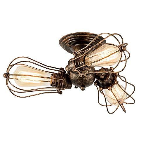 Bronze Bad Leuchte (Industrielle Vintage Deckenleuchten 3-flammig, Rustikale, verstellbare Metalldraht-Käfiglampe für die halbbündige Deckenmontage, für die Küche, Flur, Bad, Deckenleuchte, Wandleuchten, Leuchten (Bronze)