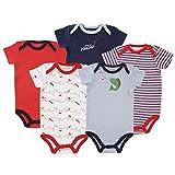 Luvable Friends Hanging 5 Pack Bodysuits Vests (9-12 Months, Fish)