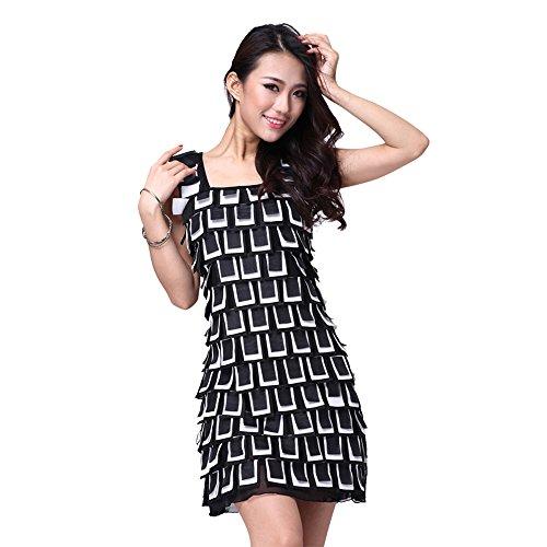 FaithYoo Damen Schößchen Kleid Einheitsgröße SchwarzWeiß