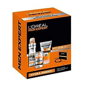 L'Oréal Paris Men Expert Set, Hydra Energy Feuchtigkeitspflege, Invincible Man Deo plus Reinigungsgel mit gratis Springseil und Fitness Booklet, 1er Pack (1 x 3 Stück)