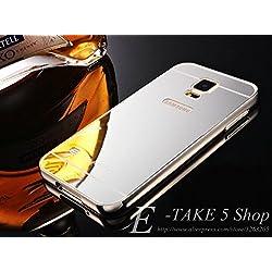 nKarta (TM) Branded Luxury Metal Bumper Acrylic PC Mirror Back Mobile Cove Case For Samsung Galaxy S5 - Silver