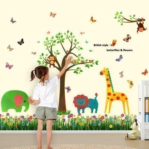 etterlinge Gras Tiere AFFE Kinderzimmer Wand Aufkleber Papier Mauerkunst Sticker Dekoration ()