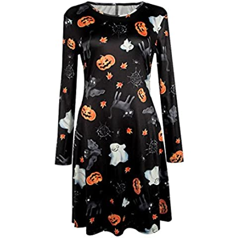 Amlaiworld Halloween Zucca & Teschio stampa manica lunga oscillare Mini abito (M) - Peter Zucca