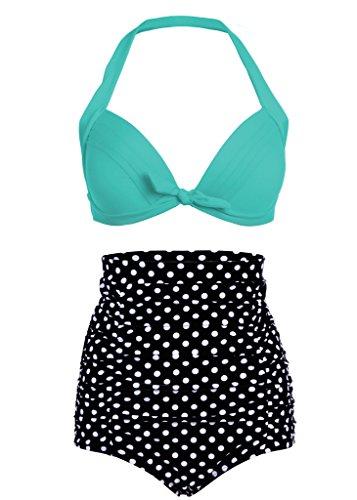Polka Dot Lunares Retro Pinup Vintage Mujer Bikini con Parte Superior Alta Cintura y Turquesa (Juego de 2Piezas) XX-Large