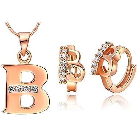 Bling fashion 18K oro rosa placcato 26lettere lettera B Collana e (Dragonfly 9 Accent)