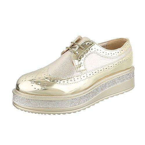 topschuhe24 Sneaker Donna, Oro (Oro), 40