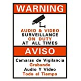 V-See 9 x 11 inches Warning Security PVC Sign for CCTV Security Camera Video Surveillance System