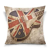 Use7 Throw Pillow Case Decorative Cushion Cover Square Pillowcase, Vintage Stylish Guitar Music Union Jack British Flag Sofa Bed Pillow Case Cover(40 x 40cm/16 x 16 Inches) Twin Sides