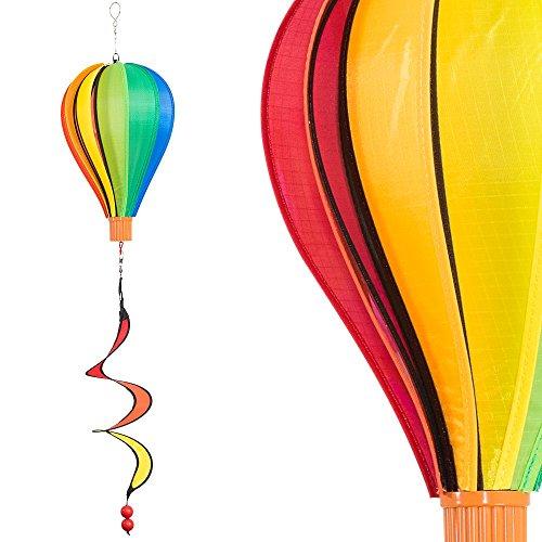 CIM Windspiel - Micro Balloon Regenbogen - wetterbeständig - Ballon: Ø17cm x 28cm, Korb: 4cm x 3.5cm, Spirale: Ø10cm x 35cm - Inklusive Aufhängung