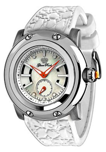 Glam Rock GR30004 - Reloj analógico de mujer de cuarzo con correa de goma blanca - sumergible a 100 metros