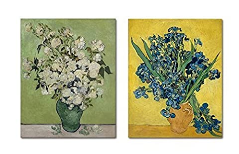 Wieco Art - Modern Irises in Vase by Van Gogh Classic Artwork Famous Oil Paintings Reproduction 2 Piece Wrapped Floral Giclee Canvas Prints Flowers Pictures on Canvas Wall Art for Bedroom Home Decor