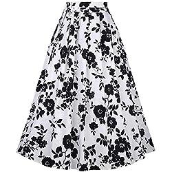 NVDKHXG Belle Poque Falda Larga con Estampado Floral Vintage para Mujer Cintura Alta Vestido de Fiesta Falda Plisada Patinador Midi Verano Saia Falda Larga Mujer XL 1