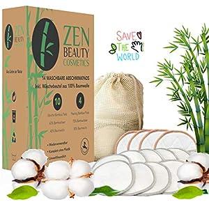ZEN BEAUTY COSMETICS Waschbare Abschminkpads Wiederverwendbare Wattepads – 14 Abschminktücher aus Bambus & Baumwolle mit Wäschebeutel – Makeup Entferner Pads – Superweich umweltfreundlich, Zero Waste