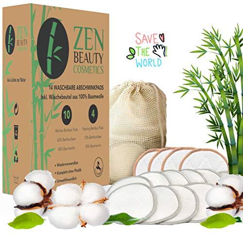 ZEN BEAUTY COSMETICS Waschbare Abschminkpads Wiederverwendbare Wattepads - 14 Abschminktücher aus Bambus & Baumwolle mit Wäschebeutel - Makeup Entferner Pads - Superweich umweltfreundlich, Zero Waste -