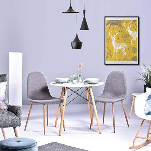 table salle à manger rond ronde 80cm 4 places tendance scandinave design contemporain plateau panneau bois massif mdf blanc