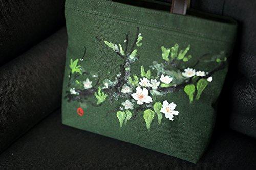 Artista dipinto a mano a tracolla autentico floreale vintage Blossom Art painting borsetta borsetta Orange Green