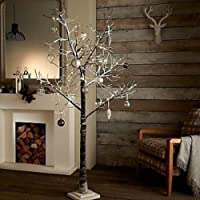 garden mile® Rustic 6ft Brown Twig Tree Birch Christmas Tree With Snow Effect Pre-lit With LED Lights Christmas Tree Rustic Snow Effect Tree Winter Branches (6FT)