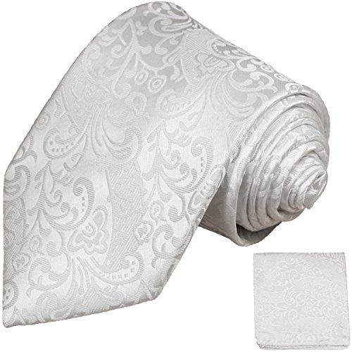 Weiße Hochzeitskrawatten Set 100% Seide Krawatte + Einstecktuch Hochzeit weiss by Paul Malone