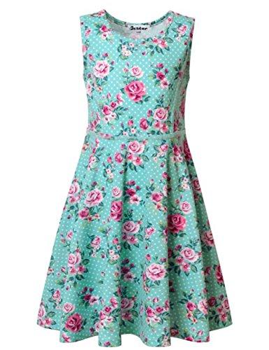 Jxstar Großes Mädchen Blumendruck Kleid für Skater Blumen Muster Ärmelloses Sommerkleid Engel Blau (Chinesische Kostüme Prinzessin)