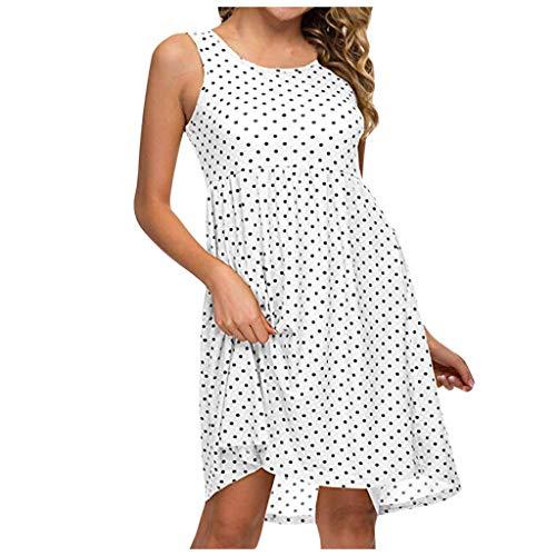 kolila Plus Size Kleid EU46/5XL Damen Tupfendruck Kleider hohe Taille Lose Beiläufige ärmellose Minikleid mit Tasche -