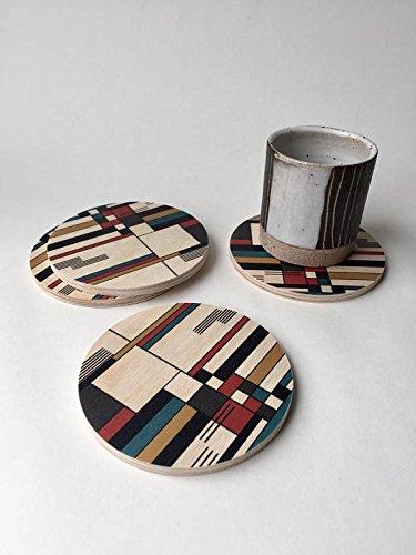 Geometrische Untersetzer Set von 4, Bauhaus Untersetzer Set, Mid Century Modern Untersetzer, Holz...